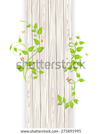 Green branches and leaves over wood fence background - stock vector