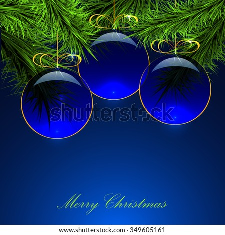 green branches on a blue  background, transparent blue  balls, vector - stock vector