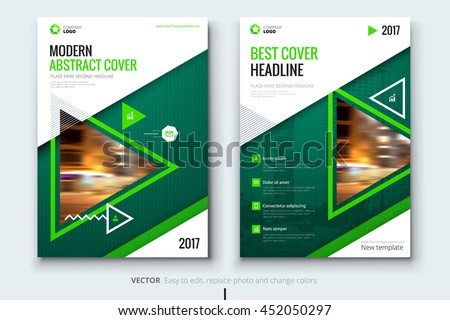 Green Brochure Template Corporate Business Design Stock Vector