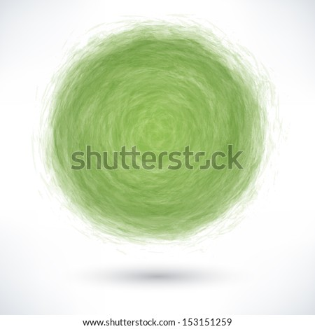 Green brush stroke in the form of a circle with gray drop shadow on white background. Drawing created in ink sketch handmade technique. Vector illustration clip-art design element save in 10 eps - stock vector