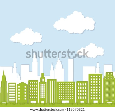 green buildings over sky, ecology city. vector illustration