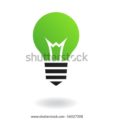Green bulb isolated on white - stock vector