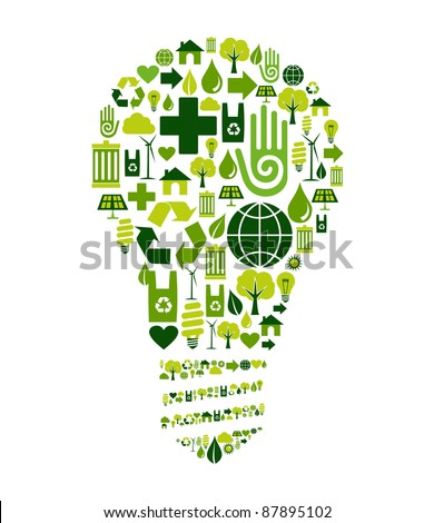 Green bulb silhouette made with environmental icons set. - stock vector