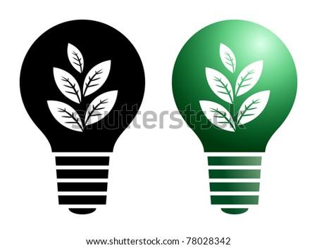 Green bulb symbol, vector illustration - stock vector