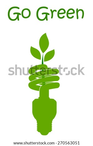 Green bulb with Go Green text. - stock vector