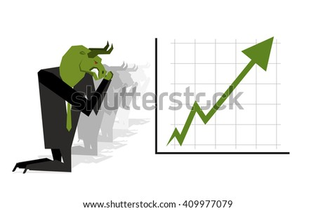 Green Bull prays on rate increase on stock exchange. Green arrow up. Worship of money. Prayer quotes. Trader kneeling before schedule. Allegory illustration for  magazine business - stock vector