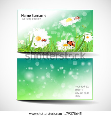 Green Business Cards with meadow and ladybug - stock vector