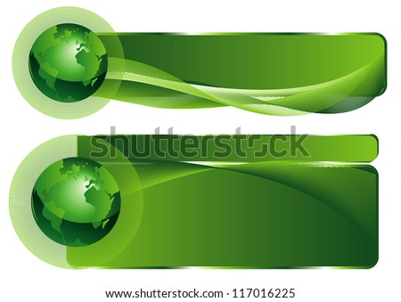Green business elegant abstract background with globe - stock vector