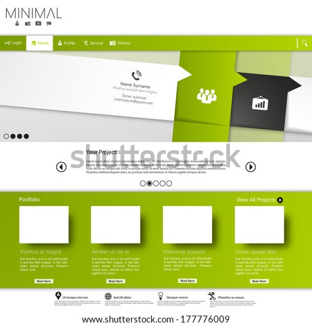 Green business website template  - stock vector
