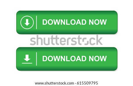 Green button on websites and in e-shop with an arrow and the word download now isolated on white background - vector
