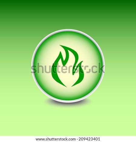 Green button with shadow. Vector icon  - stock vector