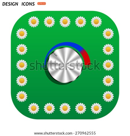 Green button with white daisies for mobile applications. metal volume control, red, blue, light. icon. vector design - stock vector