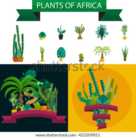 green cactus and other tropical desert flora vector illustration, nature potted plants set, flower in pots collection, floral garden design, isolated cartoon exotic houseplant, decorative flowers - stock vector