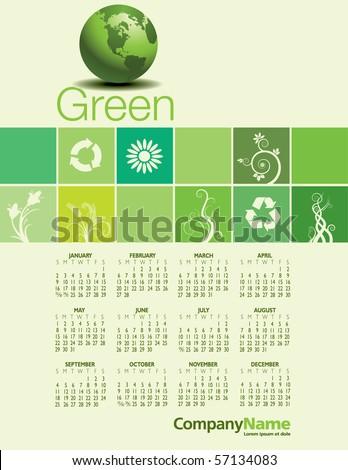 Green Calendar for 2011 - stock vector
