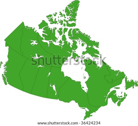 Green Canada map with province borders - stock vector