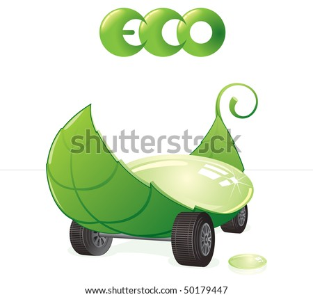 Green car concept, eco friendly vector clip art - stock vector
