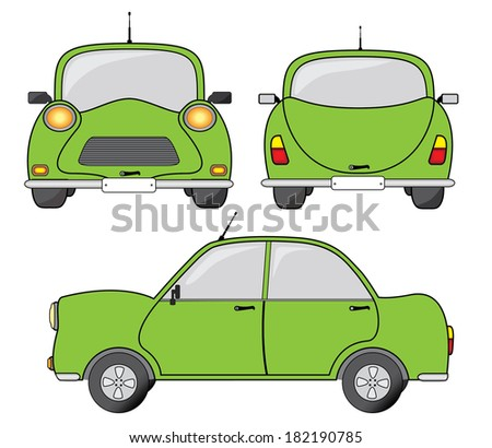 Green car front, side and back view, vector illustration. Creative transportation design. - stock vector