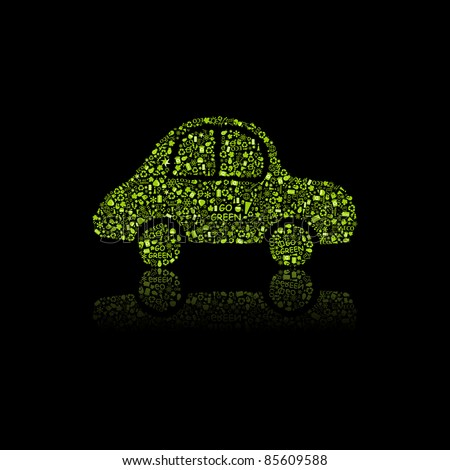 Green Car Icon. Pollution Concept. Go Green. Vector Illustration. - stock vector