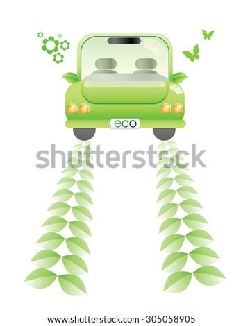 Green Car or Electronic solar Car Green wheel track - stock vector