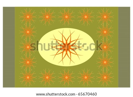 Green carpet with arabesques - stock vector