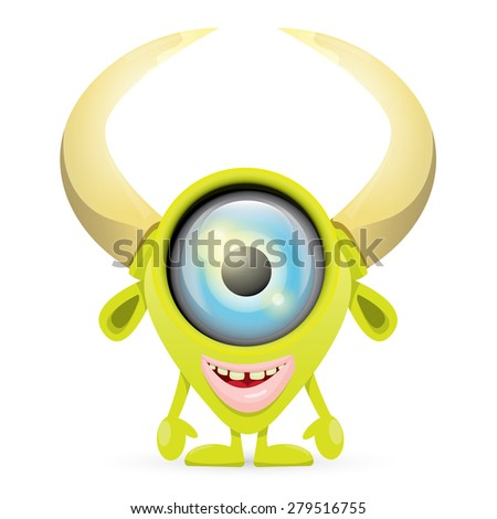 Green Cartoon cute monster isolated on white - stock vector