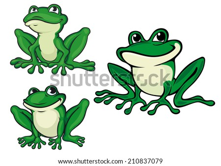 Green cartoon frogs set for wildlife or fairytale design - stock vector