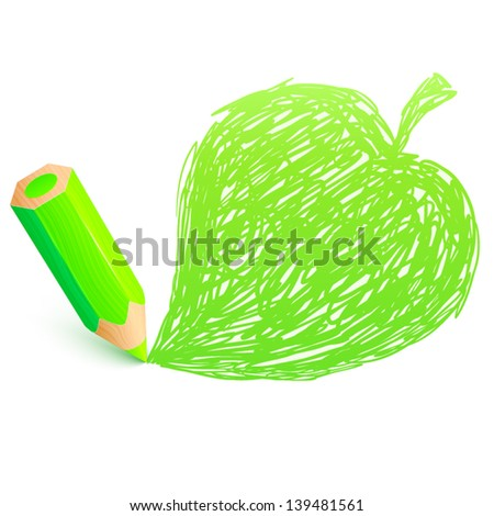 Green cartoon pencil with doodle leaf - stock vector