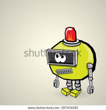 green Cartoon Robot - stock vector