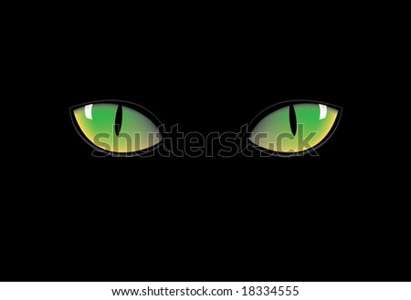 green cat eyes in dark night - stock vector