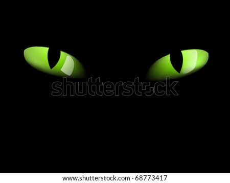 Green cat eyes in darkness - photo-real - stock vector