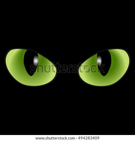Green cat eyes on a black background
