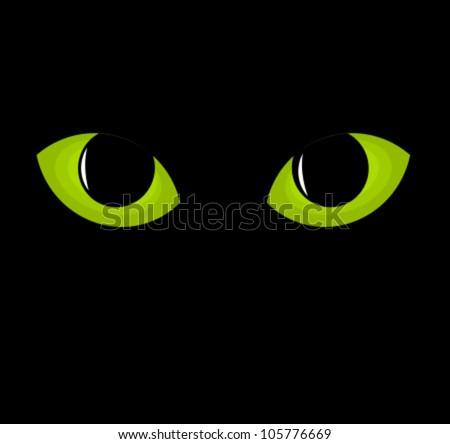 Green cat eyes. Vector illustration - stock vector