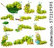 green caterpillar character in...