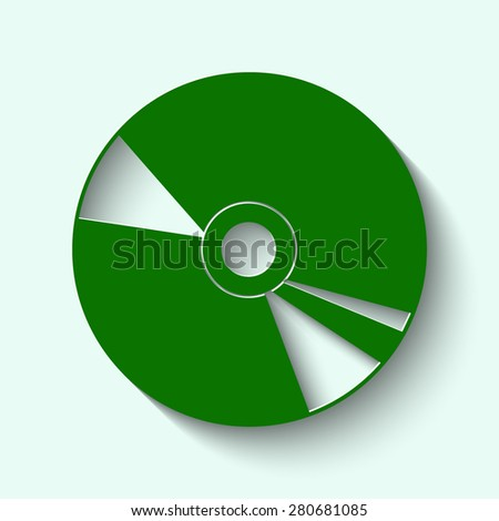 Green CD or DVD icons with shadow  - stock vector