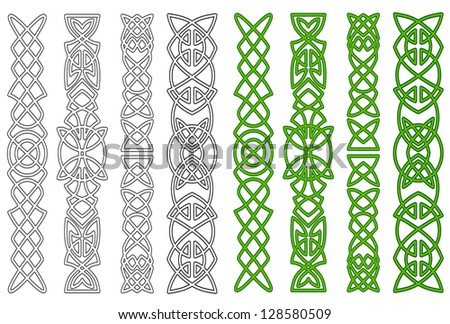 Green celtic ornaments and elements for medieval embellishments. Jpeg version also available in gallery - stock vector