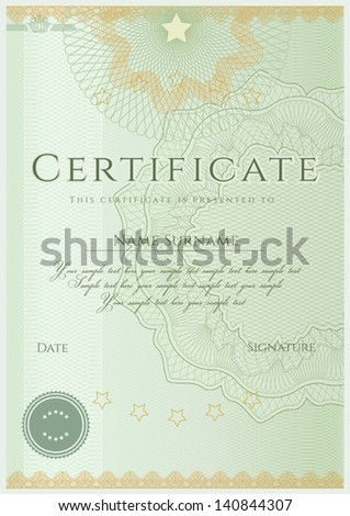 Green certificate diploma completion design template stock vector green certificate diploma of completion design template sample background with guilloche pattern yadclub Choice Image
