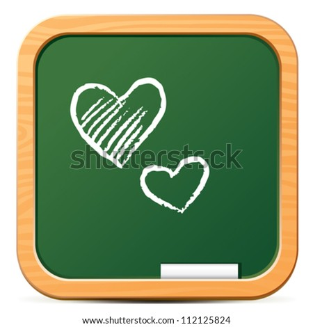 Green chalkboard icon with chalk