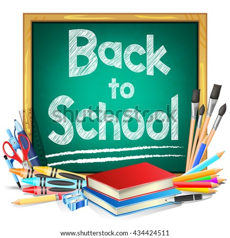 Green Chalkboard with Back to School Text and School Supplies Isolated in White Background. Vector Illustration  - stock vector