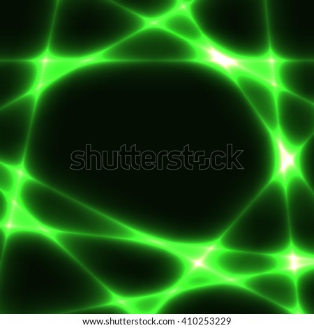 green chaotic lines on dark background. Template with green laser lines. Place for your text in centre. - stock vector