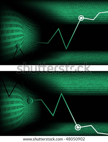 Green Chart. Illustration on an economic and technical theme. - stock vector