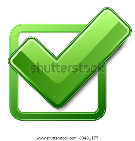 Green check box with check mark. Vector illustration