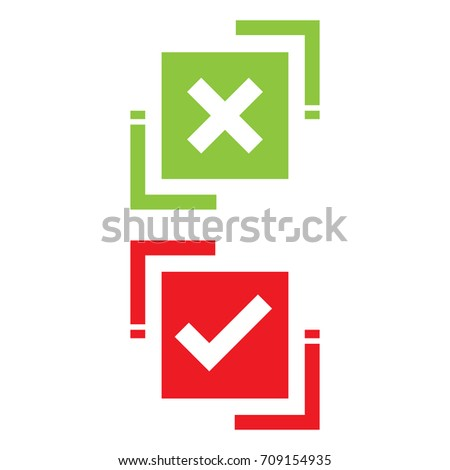 Green check mark and red X mark Right and Wrong. Vector illustration business icon concept.