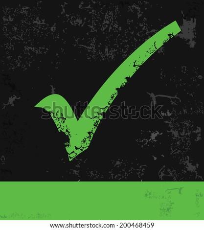 Green Check mark,Grunge vector - stock vector
