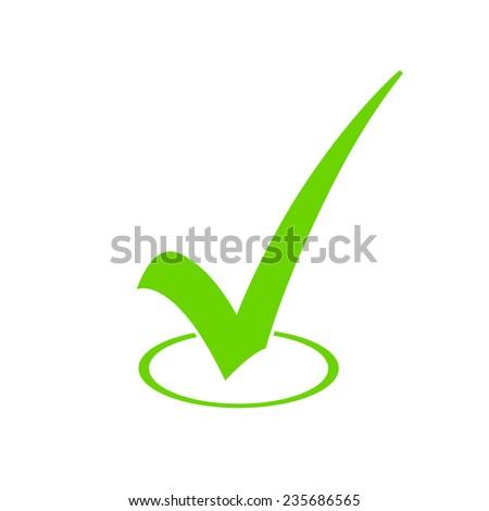 Green Check Mark Icon - stock vector