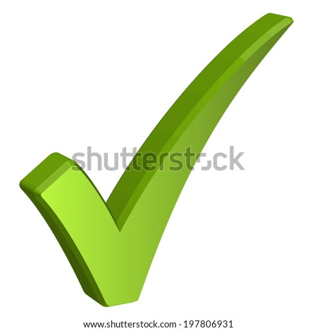 Green check mark in 3D - stock vector