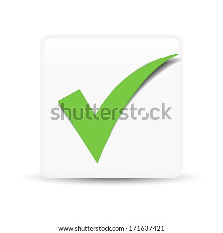 Green check mark symbol and icon for approved design concept and web graphic on white background. - stock vector