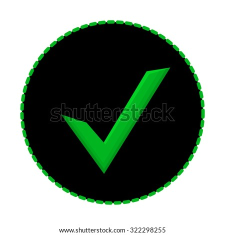 Green check mark symbol on black background with dashed stroke. Beautiful realistic checkmark with gradient for design and web graphics. Check mark icon vector isolated on white. - stock vector