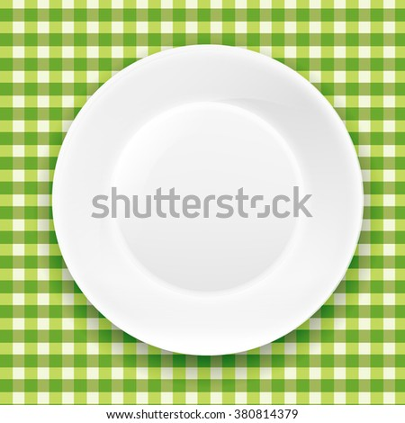 Green Checkered Cloth And White Plate With Gradient Mesh, Vector Illustration - stock vector