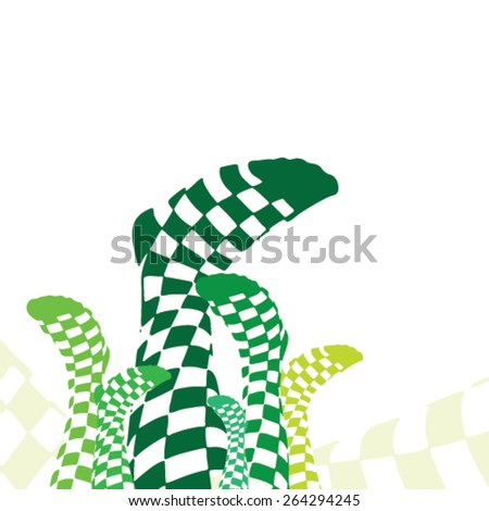 Green Checkered Socks on White Background - stock vector