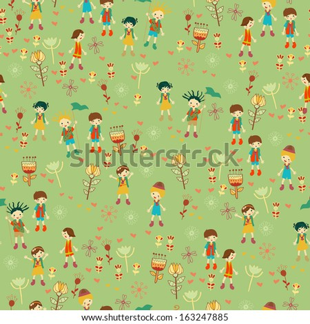 Green child's background with flowers